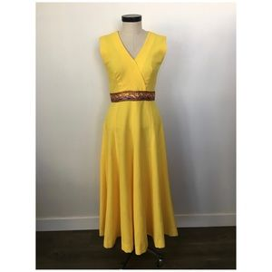 Vintage Formal Yellow Sleeveless Evening Dress